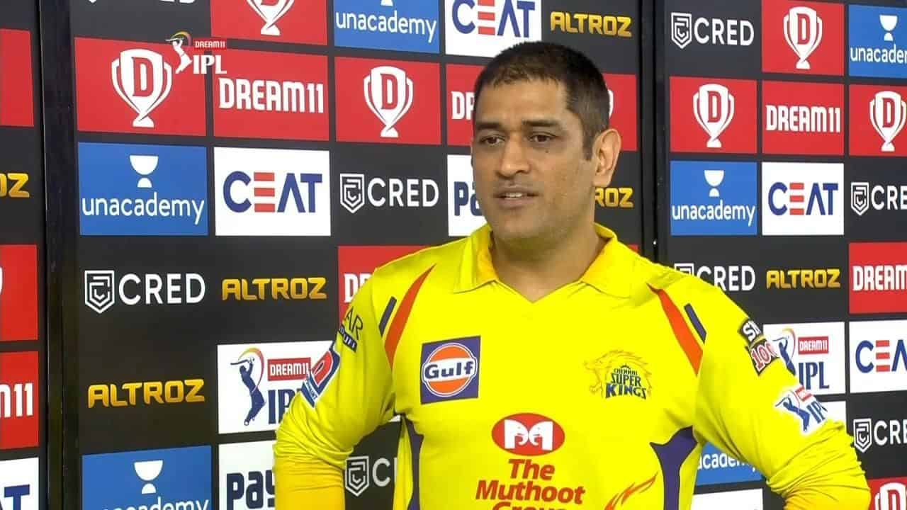 MS Dhoni Reaction after Winning The Match Against KKR in Match 49 of IPL 2020