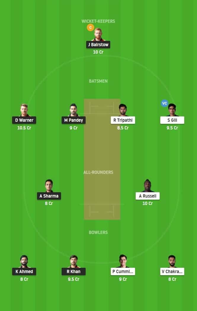 Match 35 of Dream11 IPL 2020, SRH vs KKR Fantasy Team Prediction/Suggestion