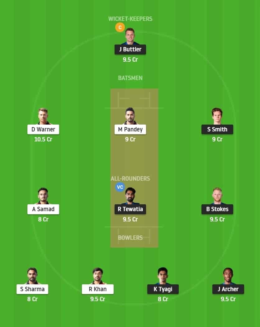 Match 40 of Dream11 IPL 2020, RR vs SRH Fantasy Team Prediction/Suggestion