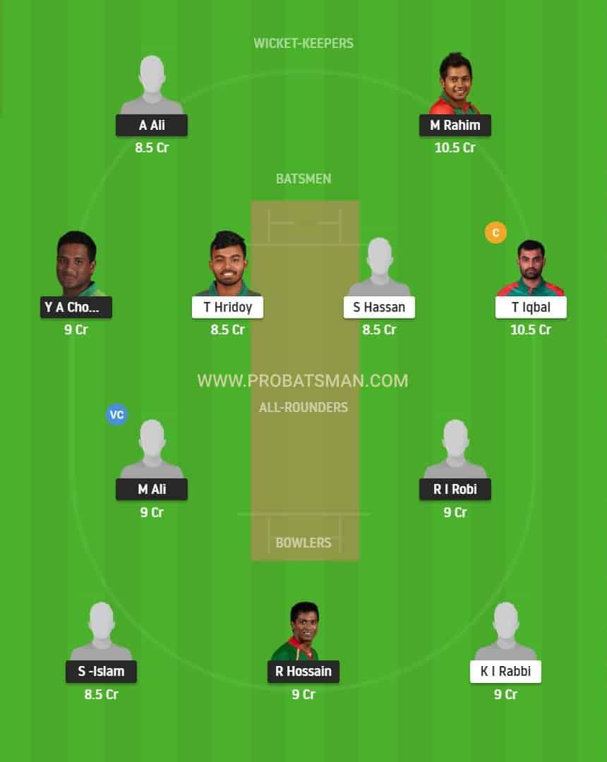 BDH vs FBA Dream11 Fantasy Playing 11