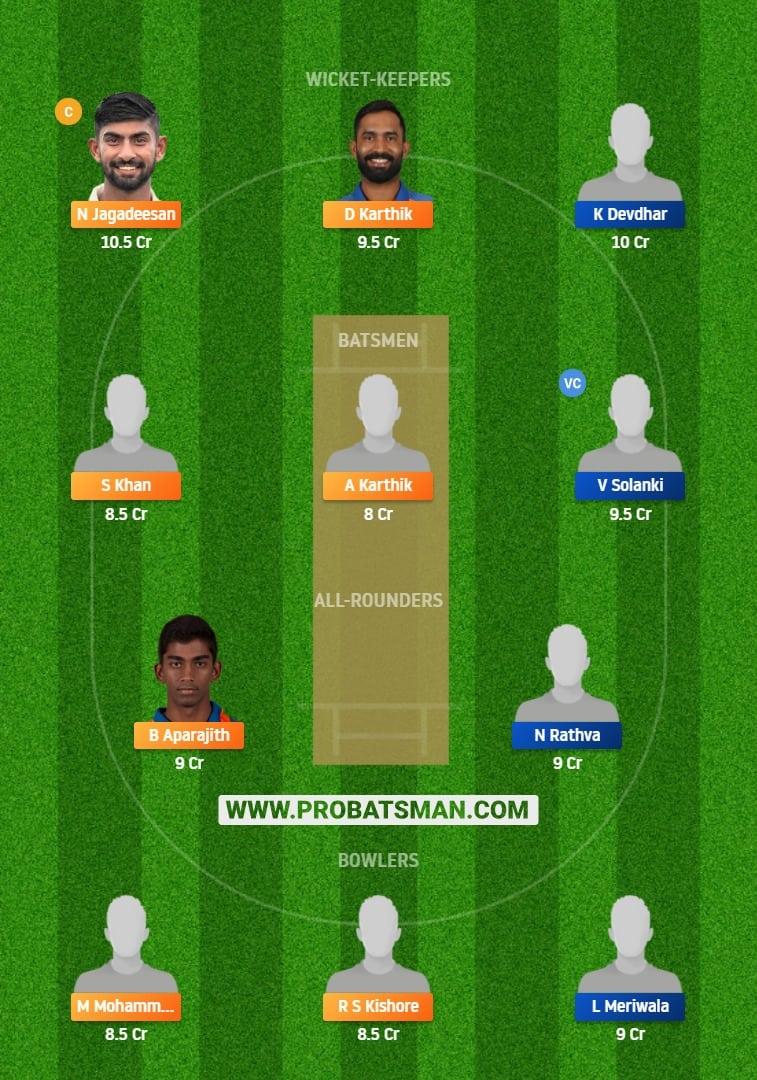 TN vs BRD Dream11 Fantasy Team Predictions