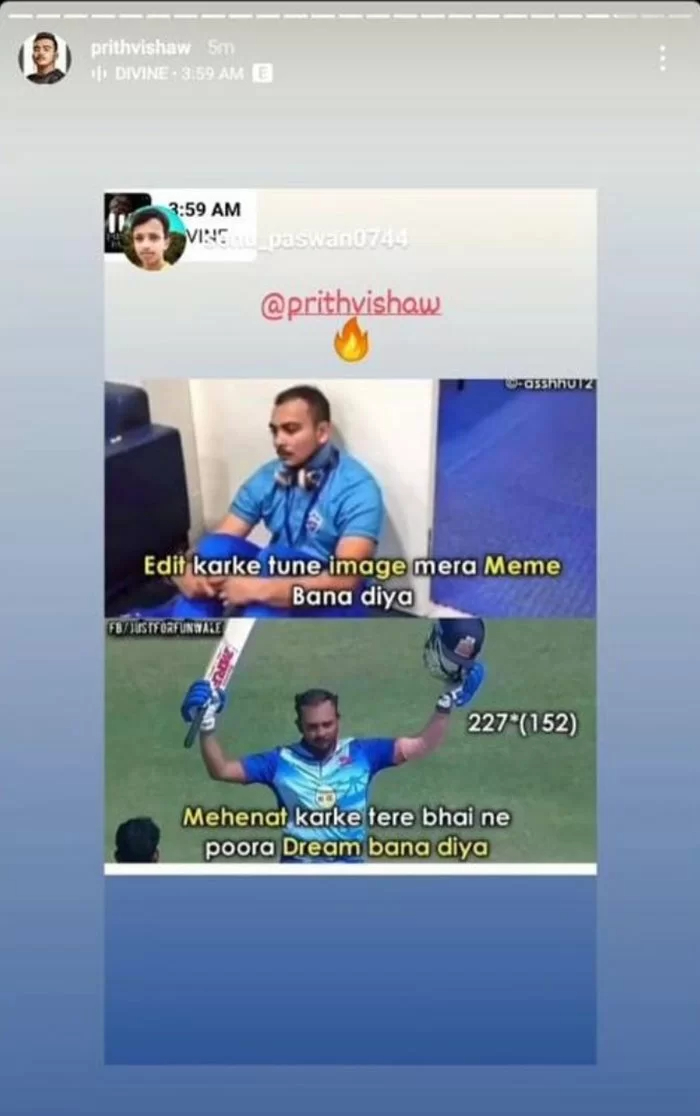 Prithvi Shaw Hits Back at Trolls With Fan-made Meme After Mumbai Skipper Slams Double Ton