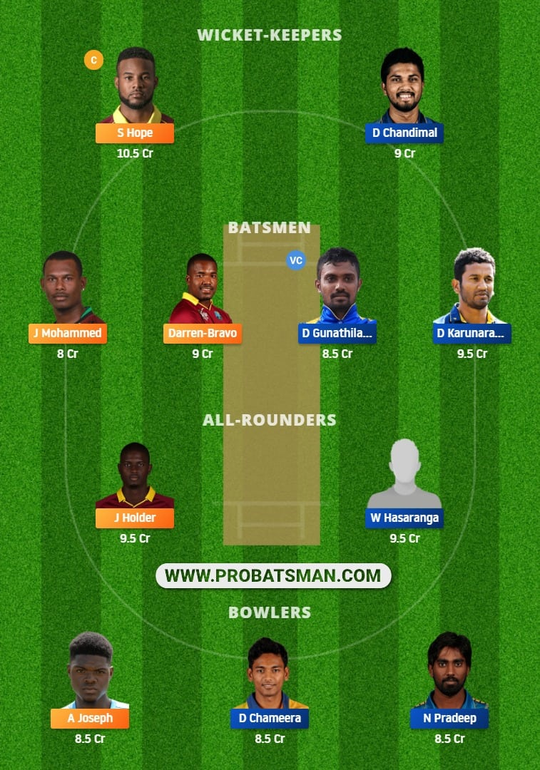 WI vs SL Dream11 Fantasy Team Prediction