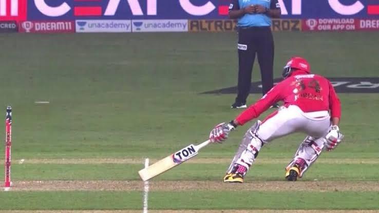 Mayank Agarwal was denied a run as the umpire signalled that it was a short run |