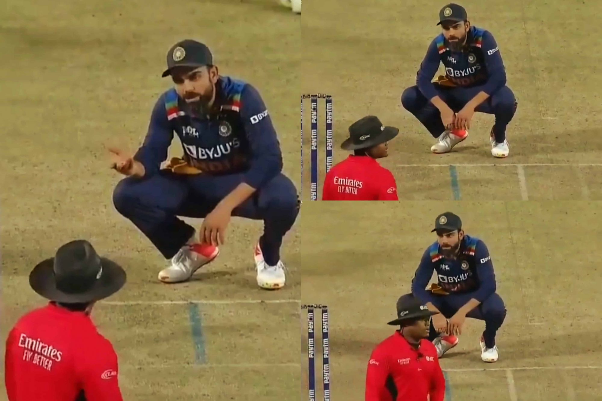 Watch: Virat Kohli Completely Ignored by Umpire As He Analyses a Wide-Ball Call During 2nd ODI Against England