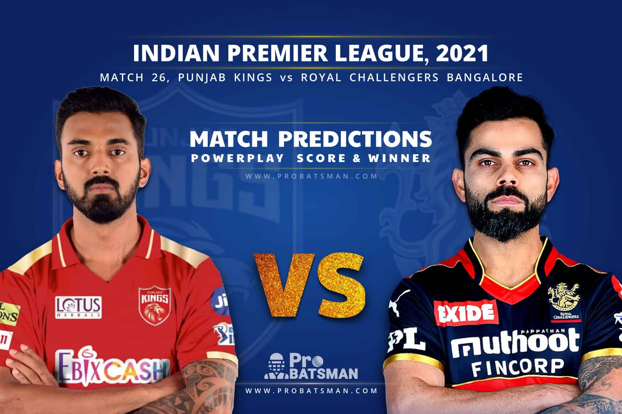 IPL 2021: PBKS vs RCB– Match 26, Match Prediction – Who Will Win Today's Match?
