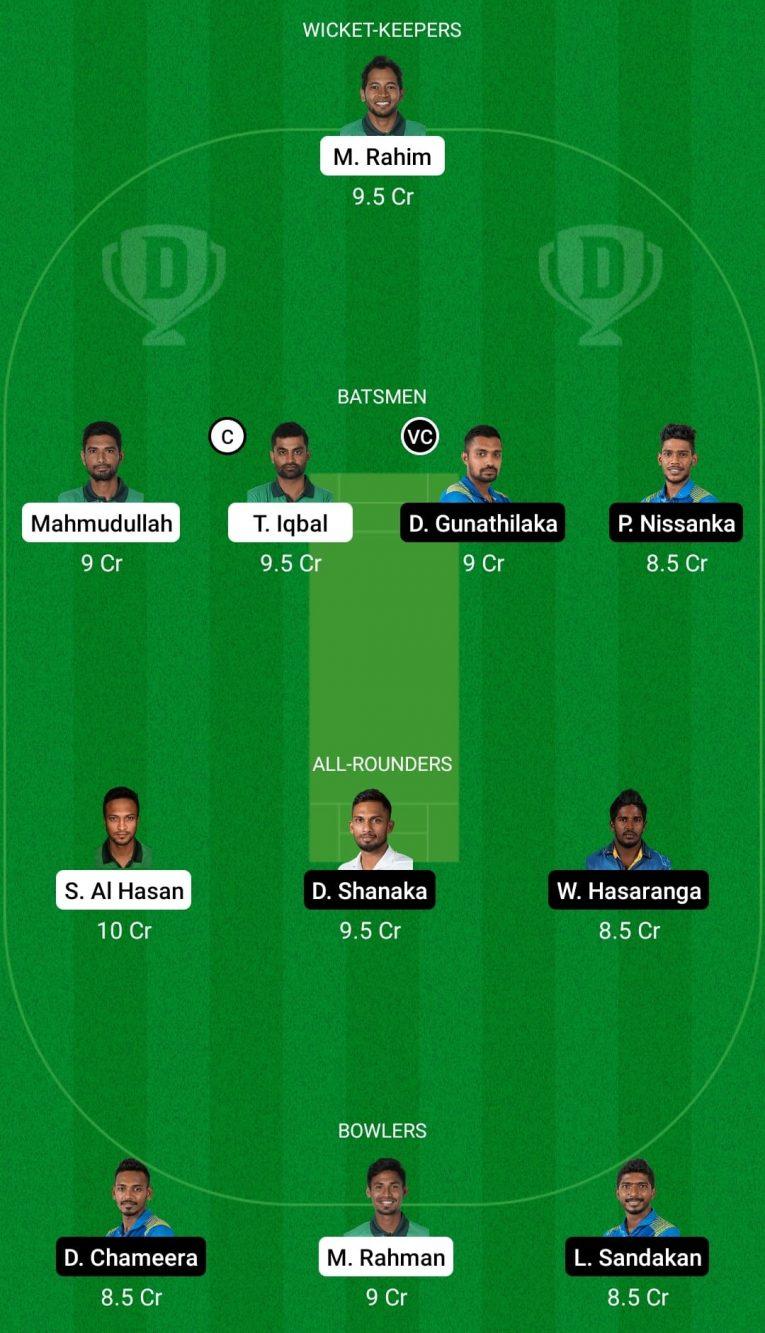 BAN vs SL 1st ODI Fantasy Team Prediction