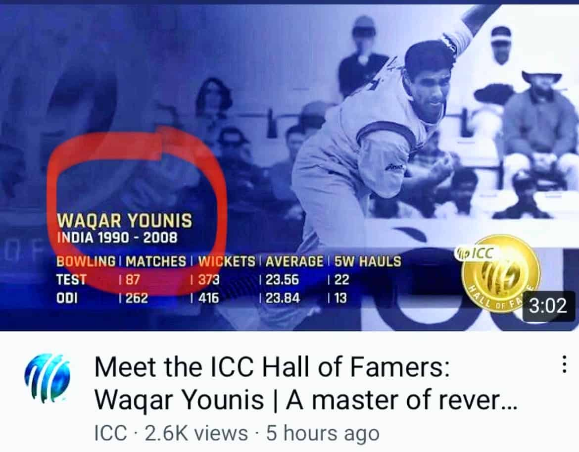 Waqar Younis Played For India? ICC Made A Huge Blunder In YouTube Post