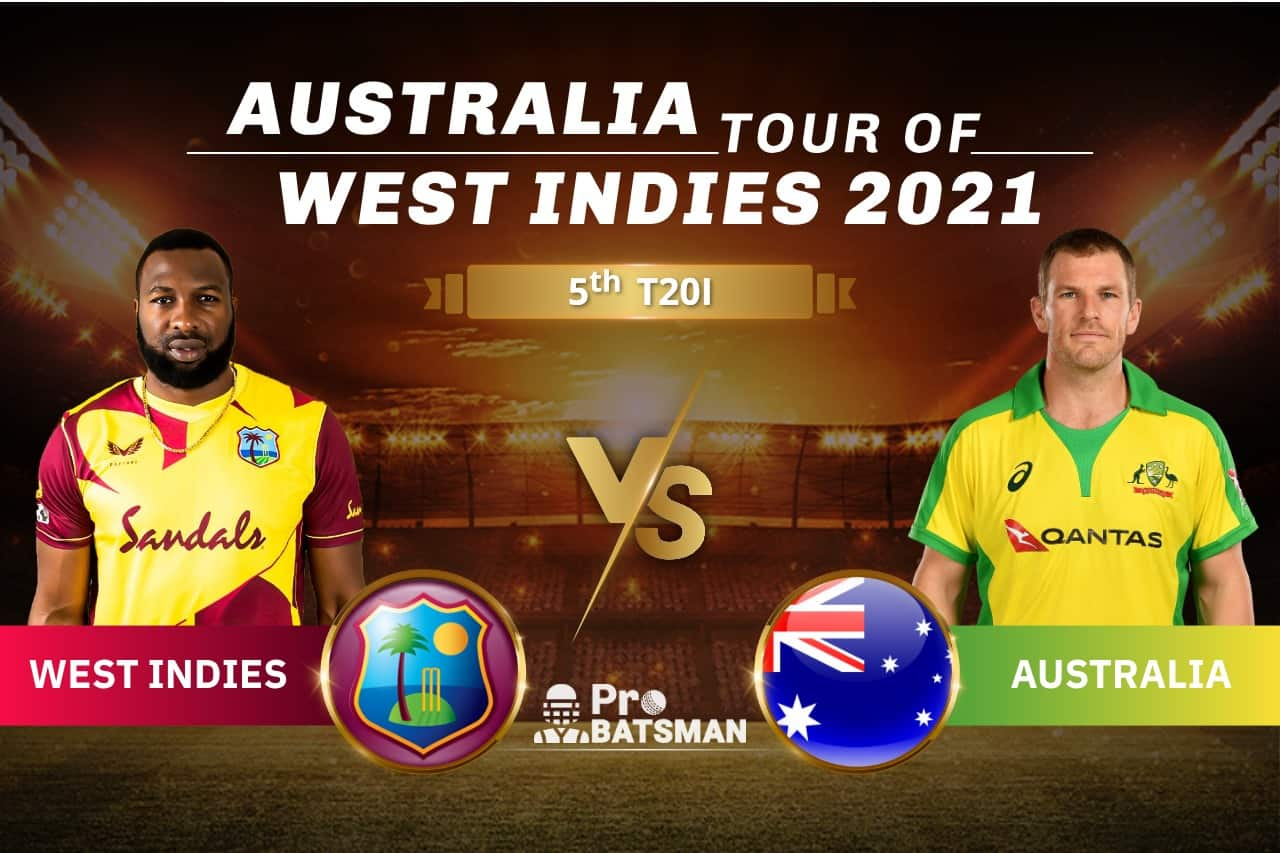 WI vs AUS Dream11 Prediction With Stats, Player Records, Pitch Report & Match Updates For 5th T20I
