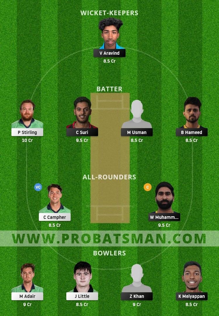 UAE vs IRE Dream11 Fantasy Team Prediction